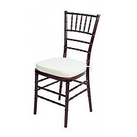 Штабелируемый стул Чиавари SDM, деревянный, с подушкой, цвет махагон