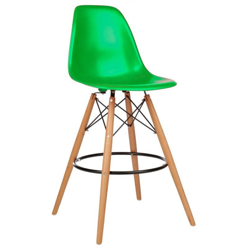 Стул барный Тауэр Вуд SDM, высокий, дерево бук, пластик, цвет зеленый, не регулируемый по высоте, h=1050