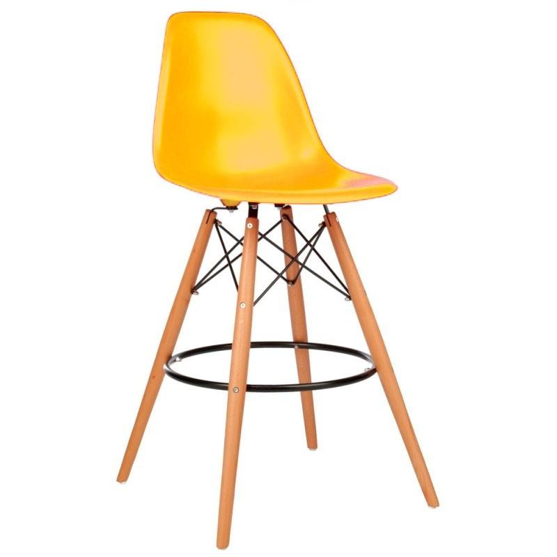 Стул барный Тауэр Вуд SDM, высокий, дерево бук, пластик, цвет желтый не регулируемый по высоте, h=1050 мм