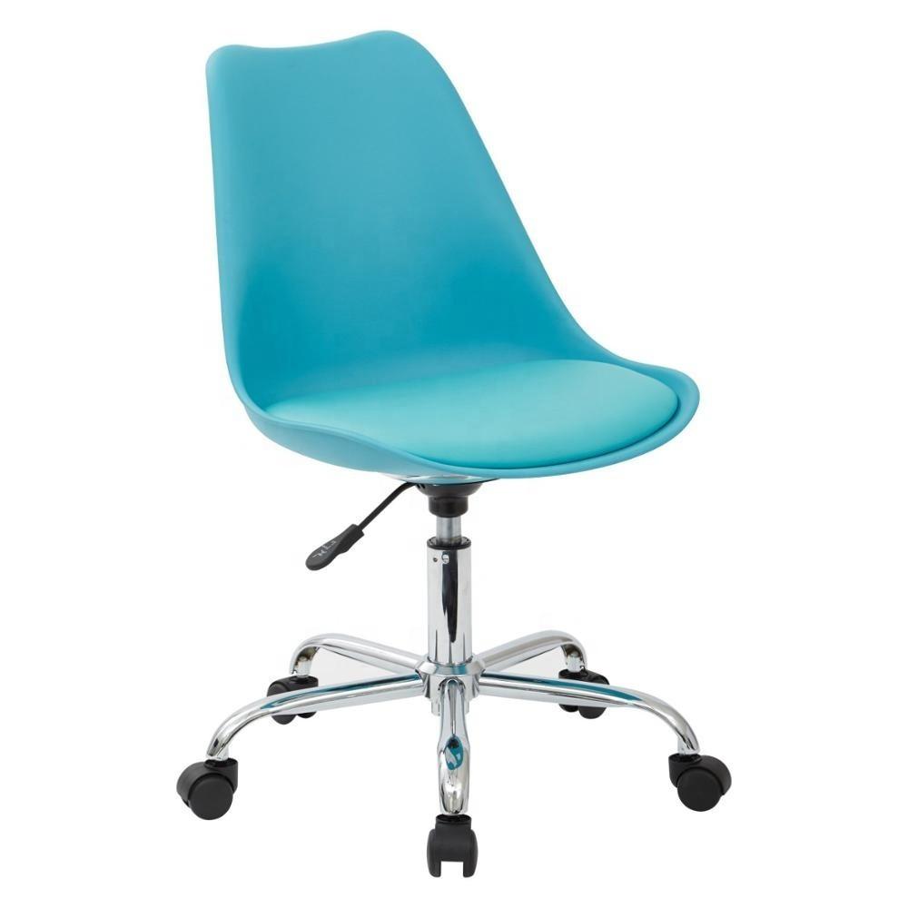 Кресло офисное на колесах Астер SDM, регулируемое по высоте,  сидение с подушкой, экокожа, цвет голубой