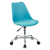 Крісло офісне на колесах Астер SDM, регульоване по висоті, сидіння з подушкою, екошкіра, колір блакитний