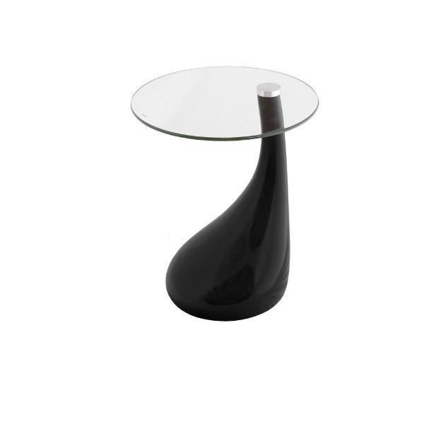 Столик  Перла журнальный, SDM пластик -черный, столешница круглая стекло , диаметр 50 см