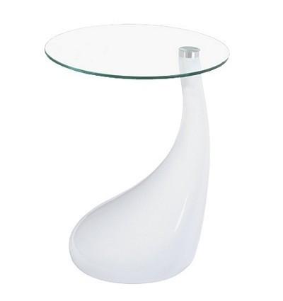 Столик  Перла журнальный, SDM пластик - белый, столешница круглая стекло , диаметр 50 см