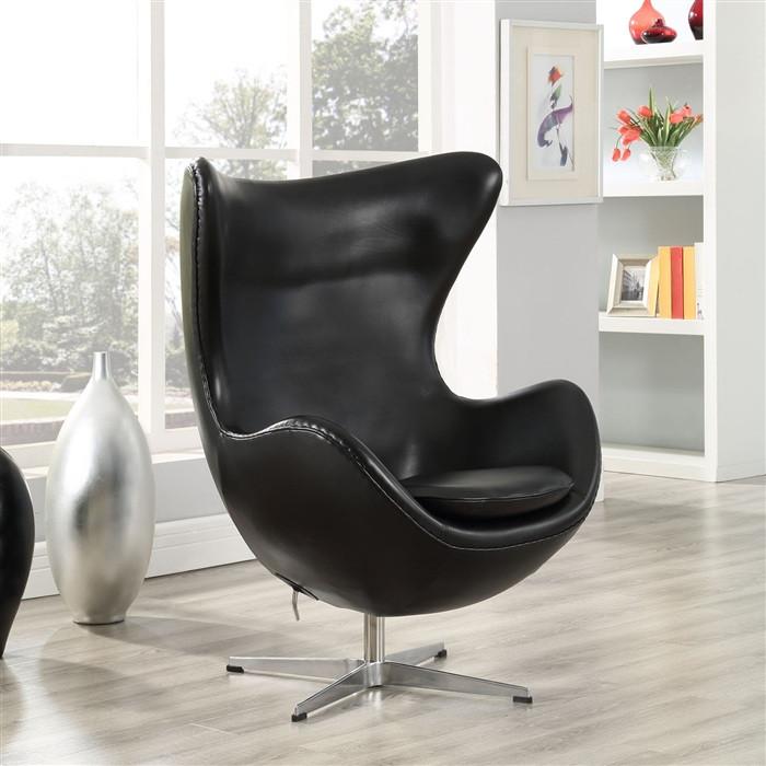Кресло дизайнерское Эгг (Egg) SDM, с наклонной спинкой поворотное, экокожа, металл, цвет черный