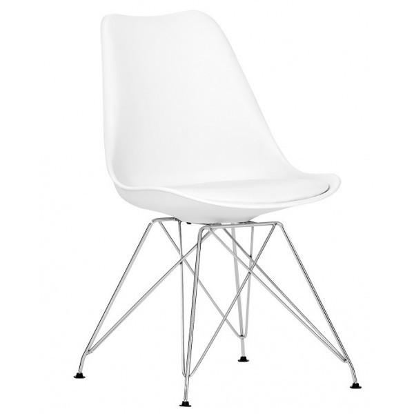 Стул Тауэр С SDM,  пластиковый с  мягкой подушкой кожзам, ножки металл, цвет белый