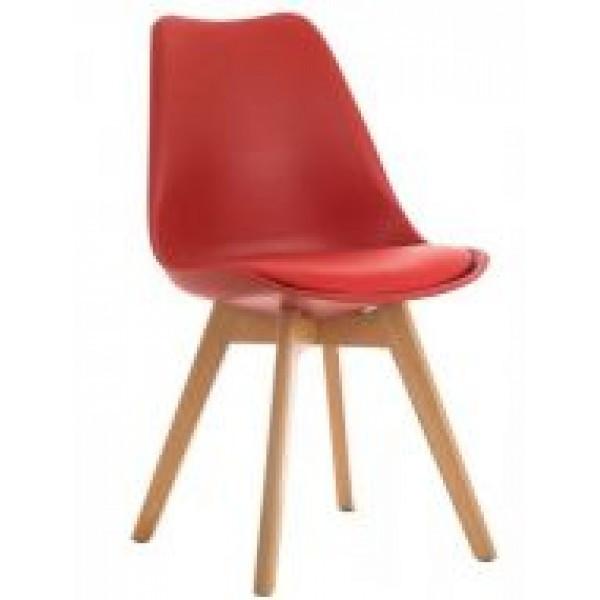 Стул барный Тор SDM, пластиковый с подушкой кожзам, ножки дерево бук, цвет красный