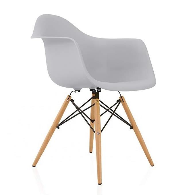 Кресло Тауэр Вуд SDM, ножки деревянные, бук, сидение пластик, цвет серый