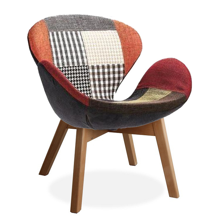 Кресло Сван Вуд Армз SDM, мягкое, ножки дерево бук, ткань, цвет пэчворк