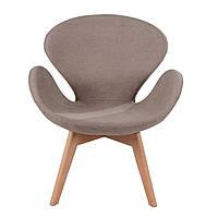 Кресло Сван Вуд Армз SDM, мягкое, ножки дерево бук, ткань, цвет коричневый
