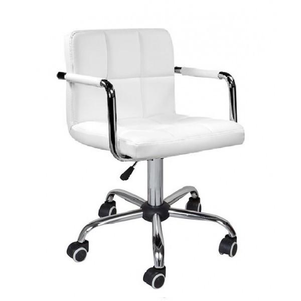 Кресло Артур КО SDM на колесах, регулируемое по высоте,  экокожа, цвет белый