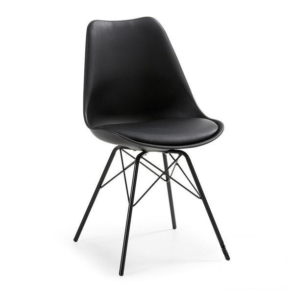 Стул дизайнерский Тау SDM, пластиковый, ножки металл, на сидении подушка кожзам, цвет черный