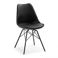 Стул дизайнерский Тау SDM, пластиковый, ножки металл, на сидении подушка кожзам, цвет черный, фото 1