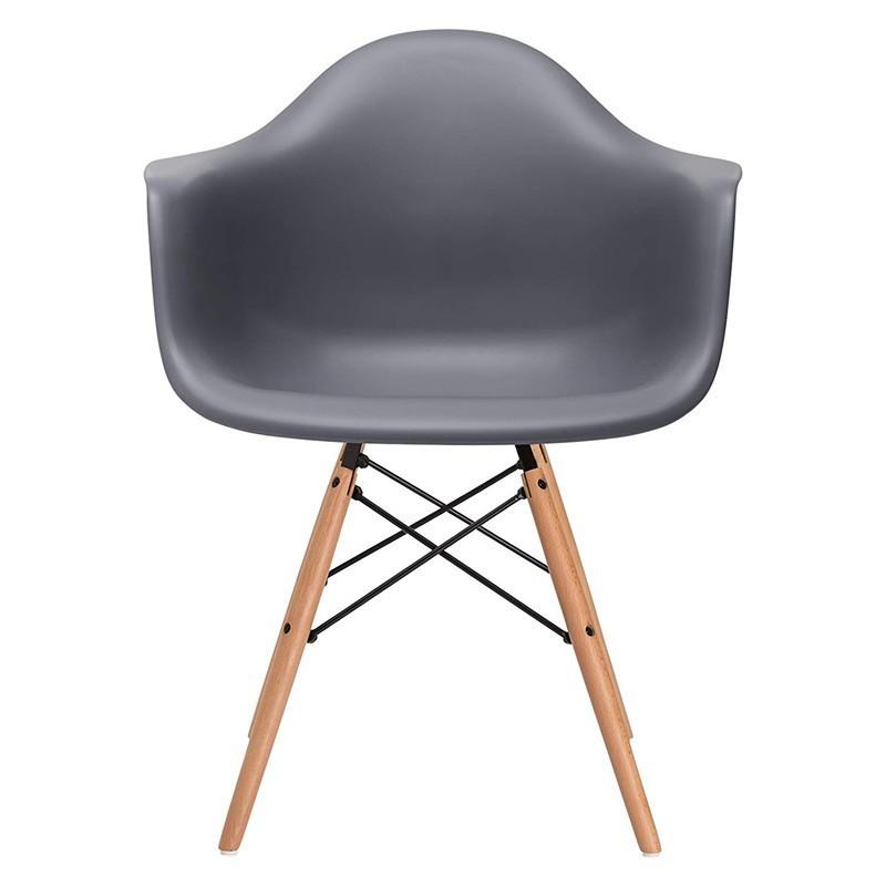 Кресло Тауэр Вуд, ножки деревянные, пластик, цвет темно-серый