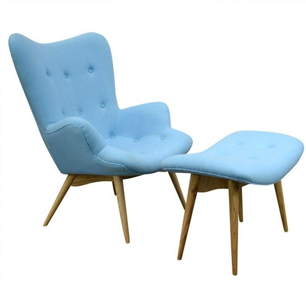 Кресло мягкое  Флорино SDM с оттоманкой, цвет голубой