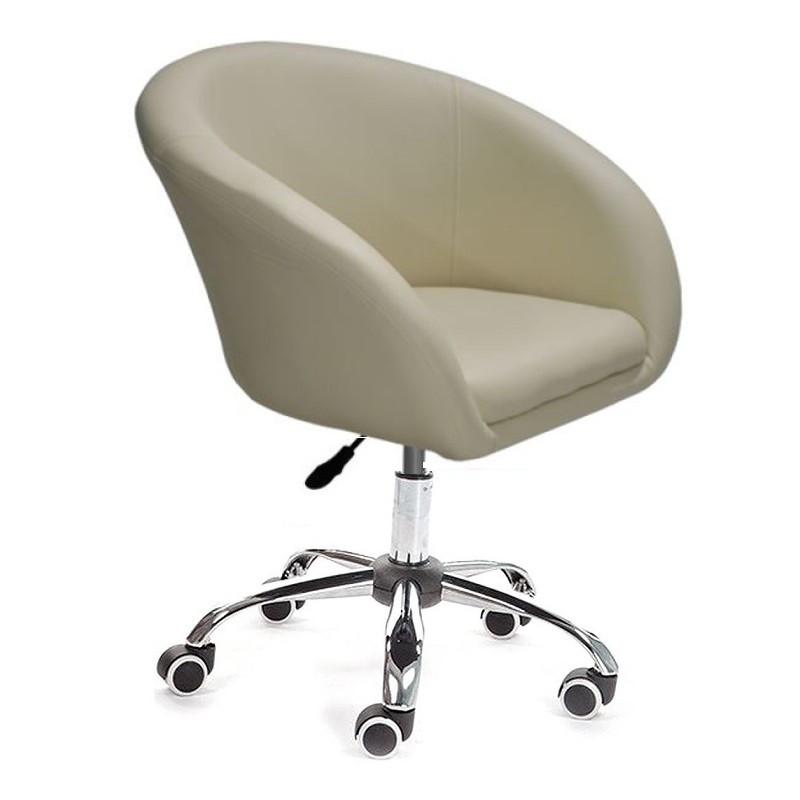 Кресло Мурат К SDM  , экокожа, хромированное на колесах, регулируемое по высоте, цвет бежевый