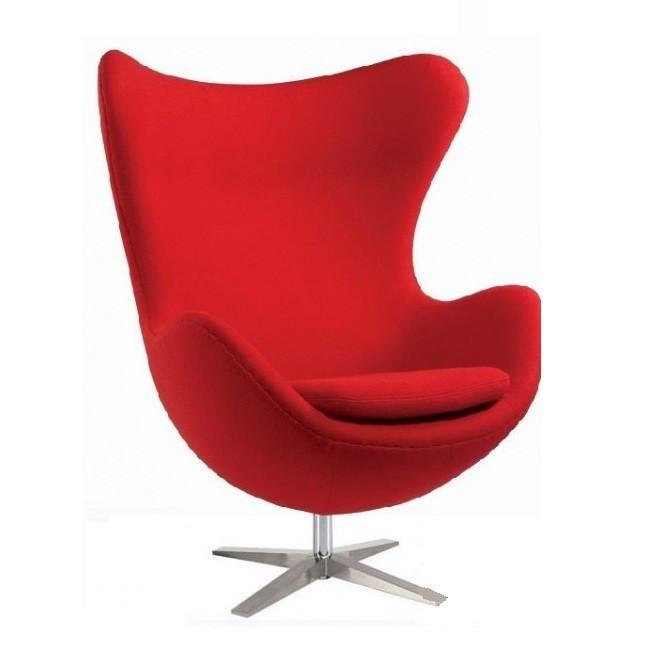 Кресло дизайнерское Эгг (Egg) SDM, с наклонной спинкой поворотное, кашемир, металл, цвет красный