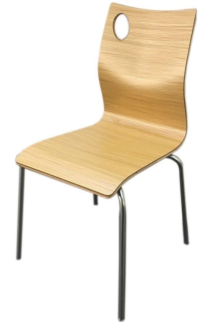 Штабелируемый стул Хорека-N SDM, фанера, ножки -нержавейка,  цвет натуральный дуб