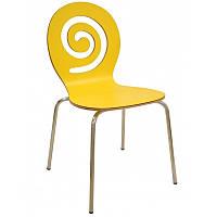 Стул штабелируемый барный Лев SDM, гнутая фанера, ножки -металл, цвет желтый, фото 1