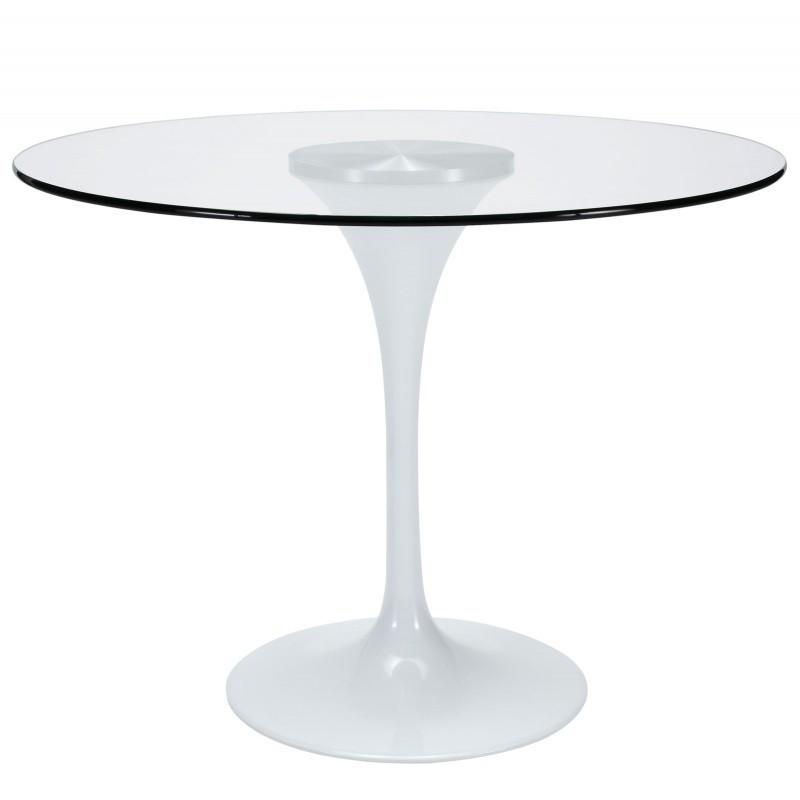 Стол дизайнерский обеденный Тюльпан G SDM, стекло, диаметр 80 см, белый