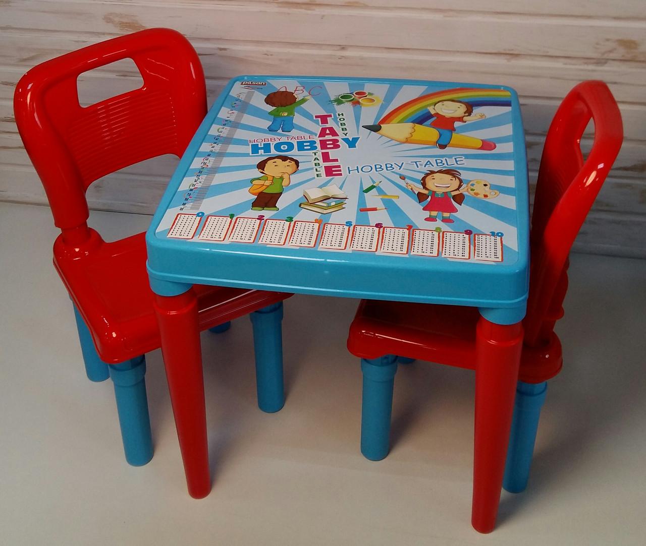 Стол с двумя стульчиками Pilsan ЦВЕТ ГОЛУБОЙ С КРАСНЫМ 03-414