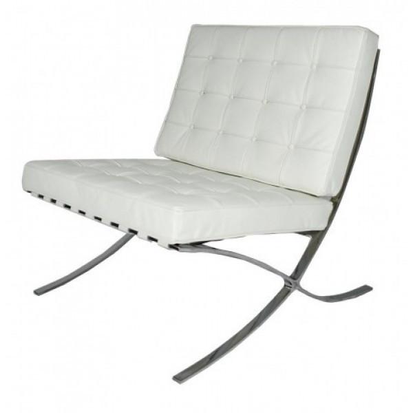Кресло Барселона SDM, экокожа, основание нержавеющая сталь, цвет белый
