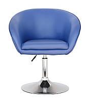 Крісло Мурат SDM м'яке, хромоване, регульоване по висоті, екошкіра, колір синій