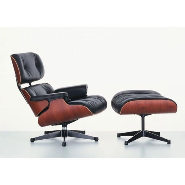 Кресло Релакс SDM с оттоманкой, натуральная кожа, гнутая фанера, цвет черный