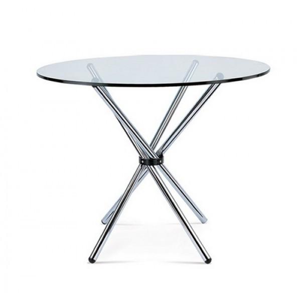 Стол обеденный круглый Тог SDM, стекло толщина 10 мм, обеденный,  ножки хром, диаметр 90 см