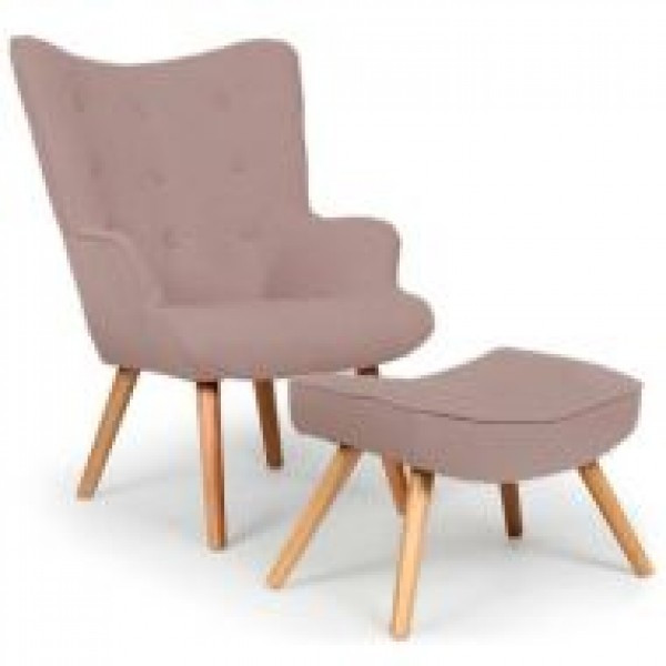 Кресло Флорино SDM с табуреткой, оттоманкой, цвет коричневый