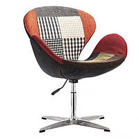 Крісло Сван SDM, м'яке, підстава метал, тканина, печворк