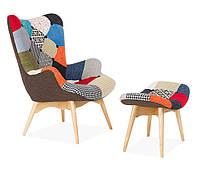 Кресло Флорино  SDM с оттоманкой, цвет пэчворк