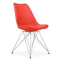 Стул Тауэр С SDM, пластиковый с мягкой подушкой, кожзам, цвет красный
