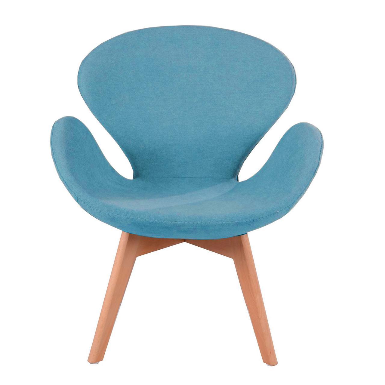 Кресло Сван Вуд Армз SDM, мягкое, ножки бук, ткань, цвет голубой