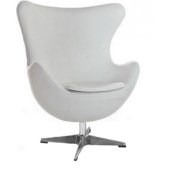 Кресло дизайнерское Эгг (Egg) SDM, с наклонной спинкой, поворотное, экокожа, металл, цвет белый