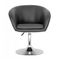 Крісло Мурат SDM м'яке, хромоване, регульоване по висоті, екошкіра, колір чорний