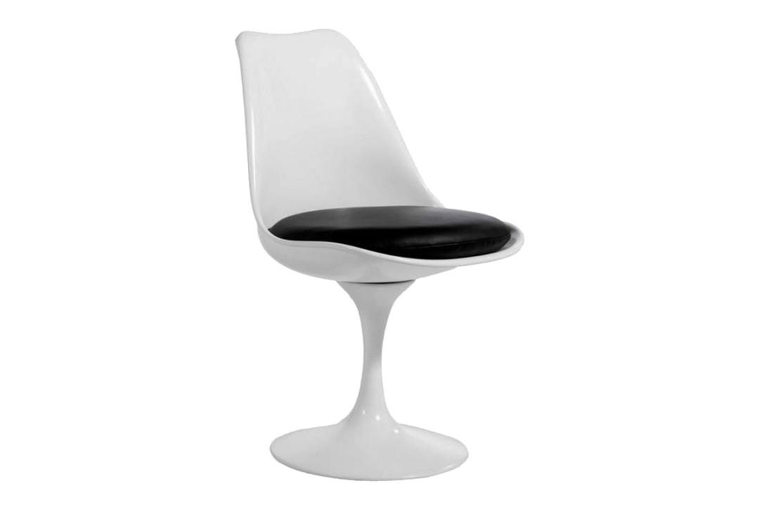 Кресло дизайнерское Тюльпан SDM, пластик, цвет белый, подушка черного цвета