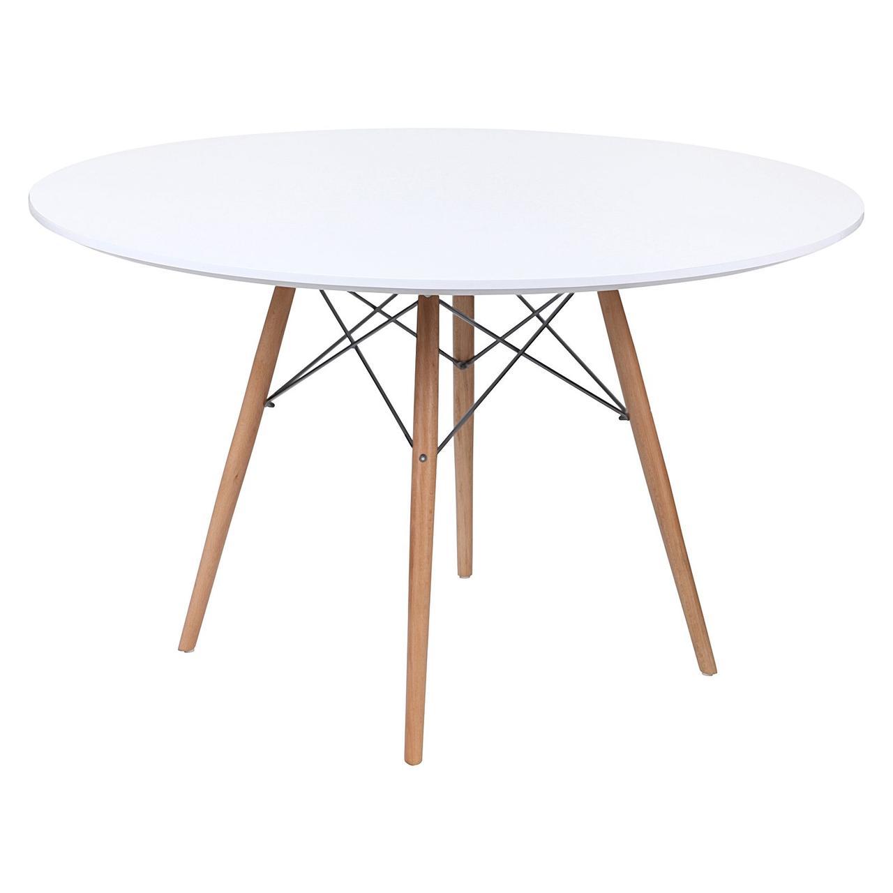 Стол обеденный Тауэр Вуд SDM, деревянный, бук, диаметр 120 см, цвет белый
