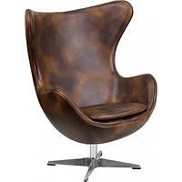 Крісло дизайнерське Егг (Egg) SDM, екошкіра, метал, колір коричневий