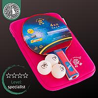 Набор для настольного тенниса пинг-понга GIANT DRAGON в чехле 1 деревянная ракетка и 3 мяча Розовый (MT-6540)