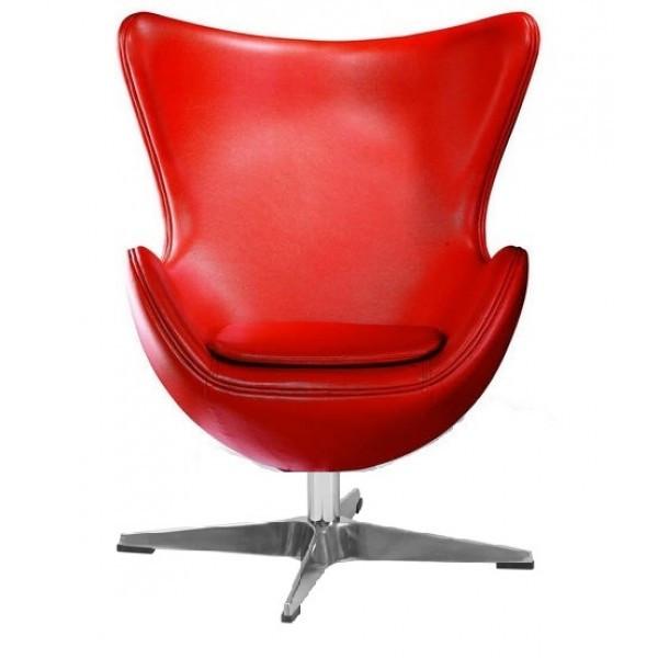 Кресло дизайнеское Эгг (Egg) SDM, с наклонной спинкой, поворотное, экокожа, цвет красный