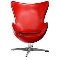 Крісло дизайнеское Егг (Egg) SDM, з похилою спинкою, поворотне, екошкіра, колір червоний