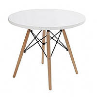 Круглий обідній стіл Тауер Вуд SDM 100 см Білий