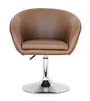 Крісло Мурат SDM м'яке, хромоване, регульоване по висоті, екошкіра коричнева