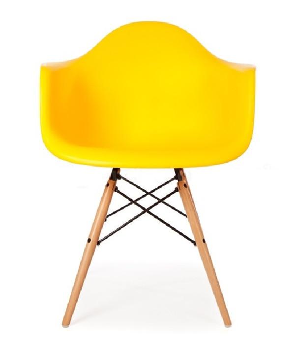Кресло Тауэр Вуд SDM, деревянный, бук, сидение пластик, цвет желтый