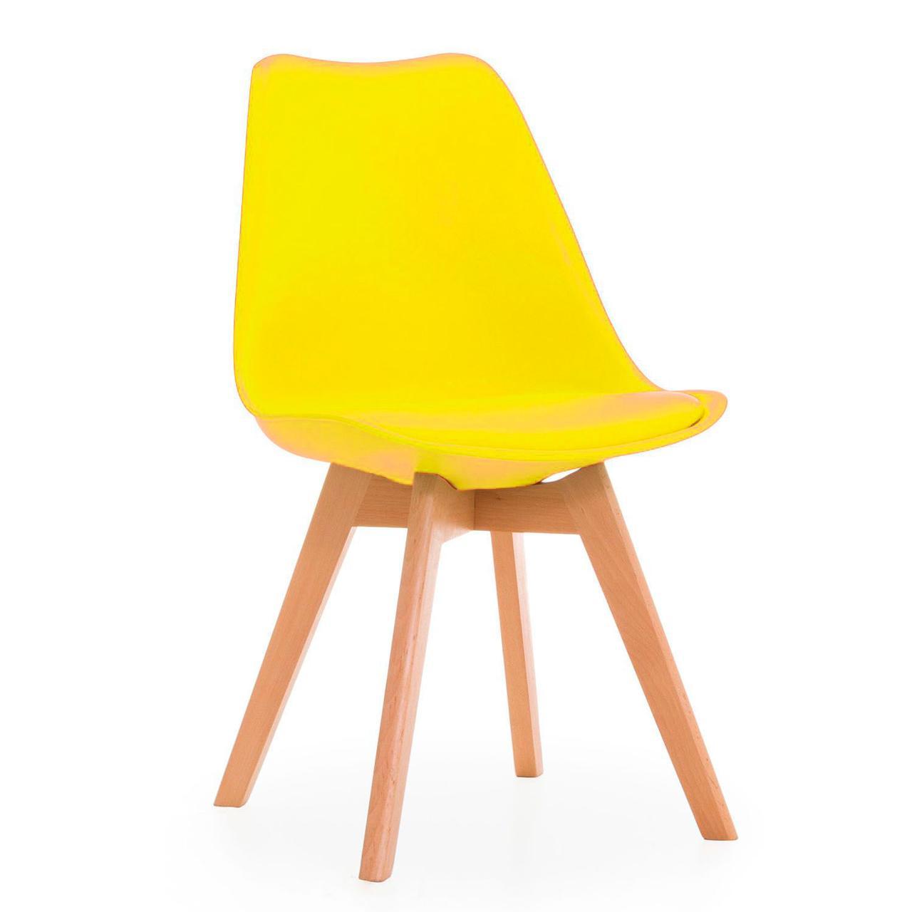 Стілець барний Тор SDM, пластиковий з подушкою кожзам, ніжки дерево бук, колір жовтий