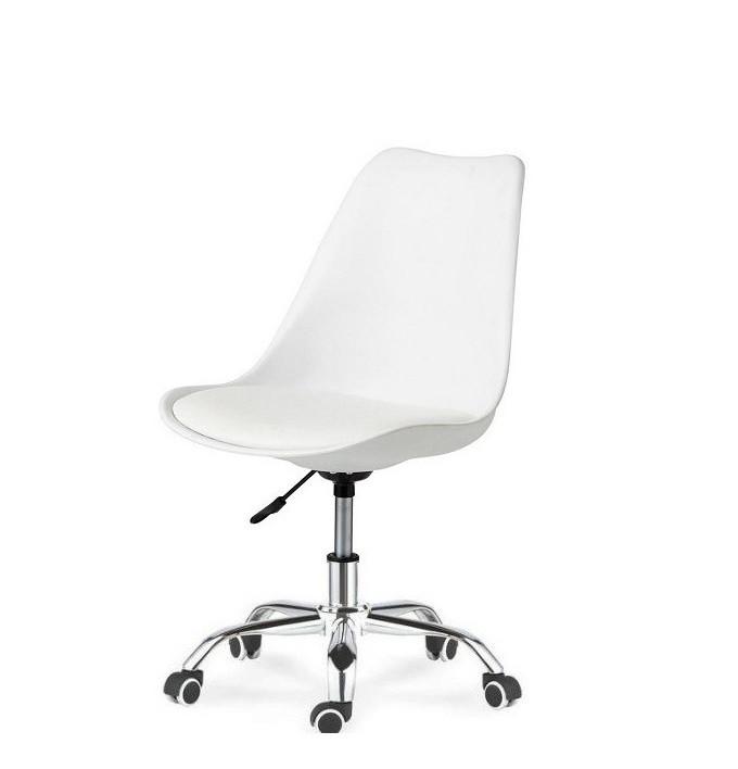 Кресло офисное на колесах Астер SDM, регулируемое по высоте, сидение с подушкой, экокожа, цвет белый