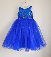 Нарядное детское платье для девочек 4-5 лет, пышное с фатиновой юбкой, электрик, фото 1