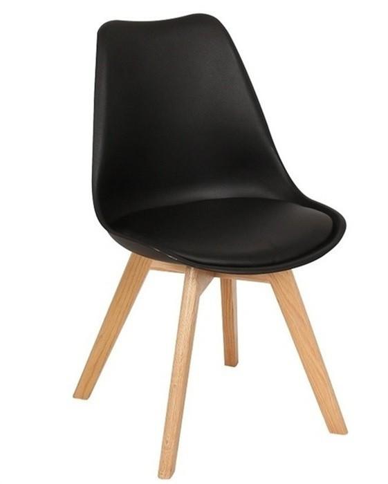 Стул барный Тор SDM, сиденье пластик с подушкой кожзам, ножки дерево бук, цвет черный