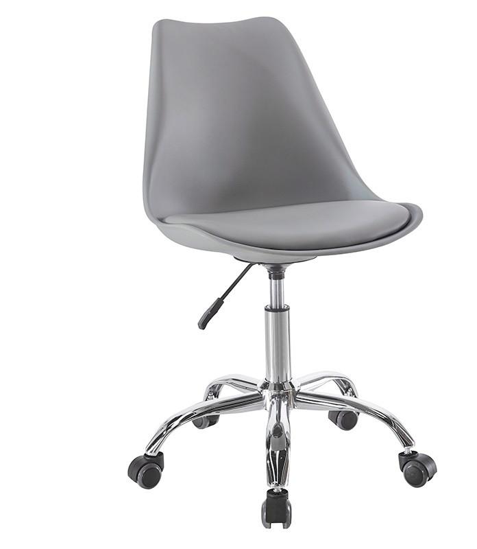 Крісло офісне на колесах Астер SDM, регульоване по висоті, сидіння з подушкою, екошкіра, колір сірий