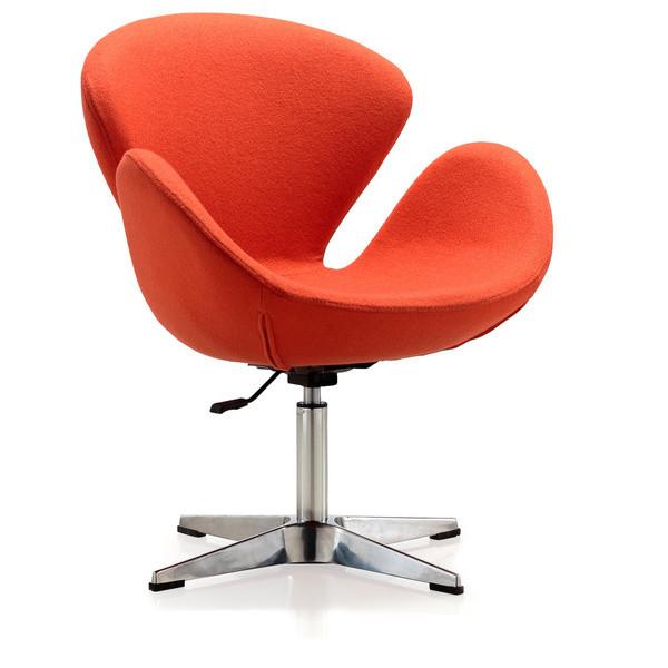 Крісло Сван SDM, м'яке, підстава метал, тканина, колір помаранчевий